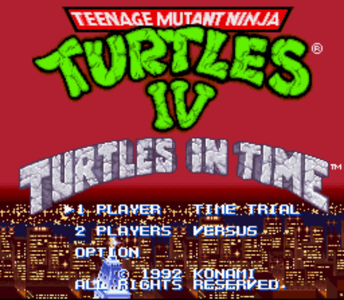 Turtles in Time Main Screen